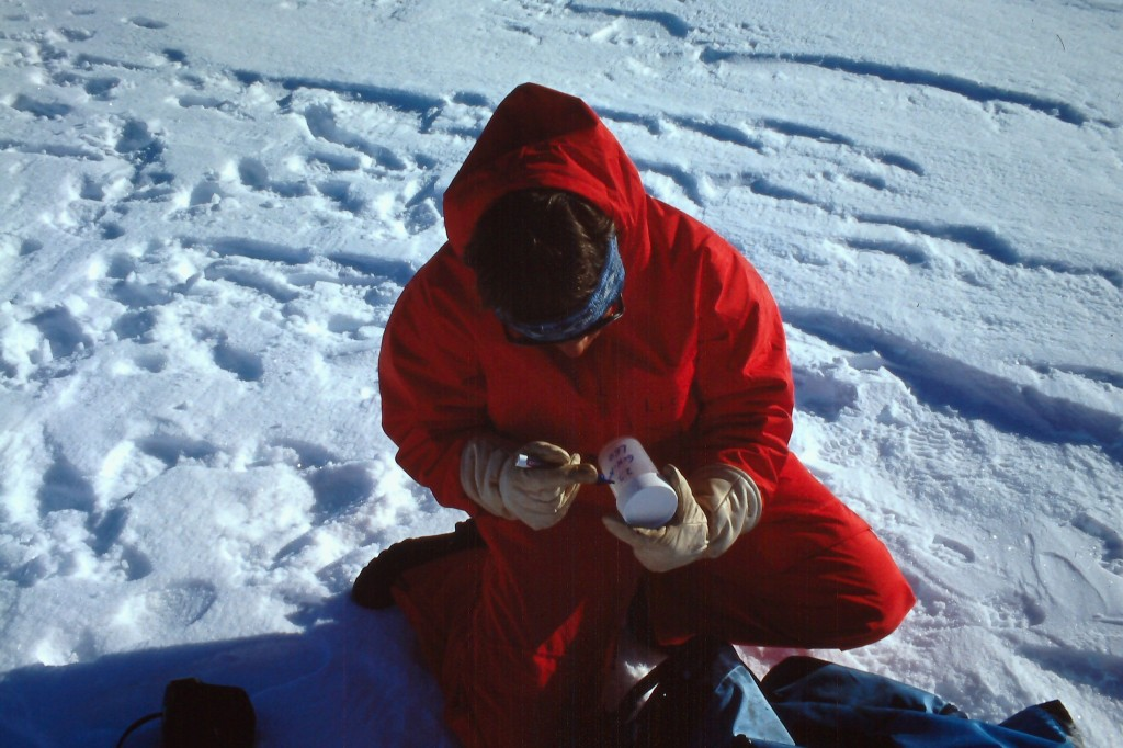 Taking snow samples back in 1990