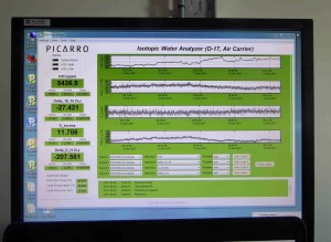 The data the Picarro measures are displayed on a screen on top of the instrument.