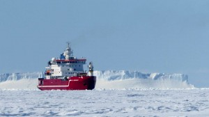 S.A.Agulhas breaking a small channel through the sea ice