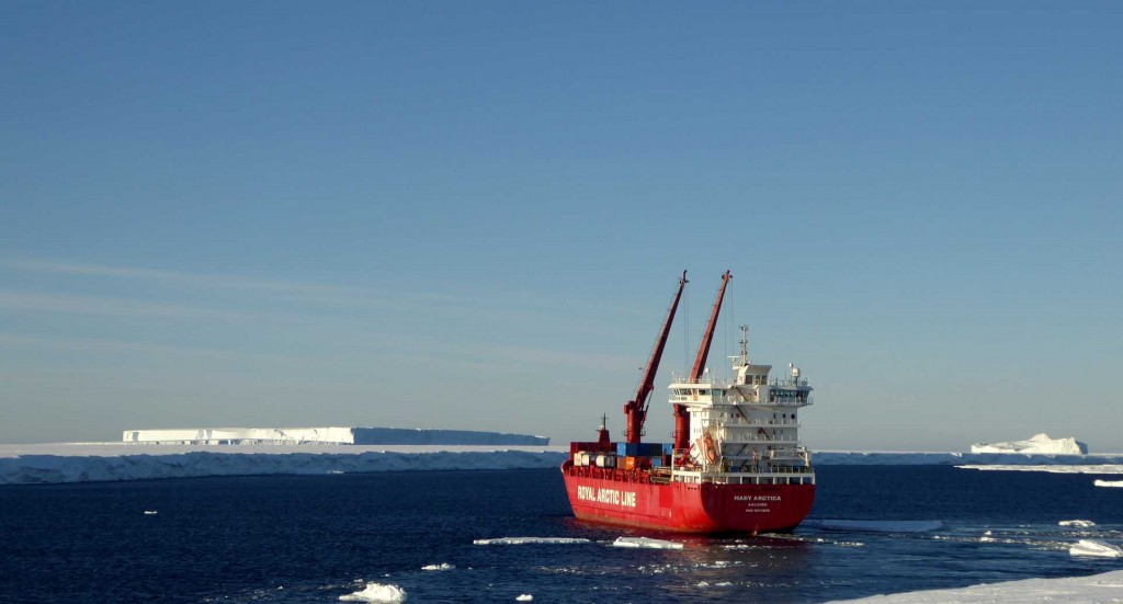 The Mary Arctica, a danish cargo ship, leaving the inlet