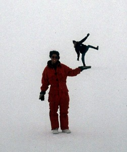 Whiteout. The pic was taken on a slope, the man is standing behind my colleague Stella.