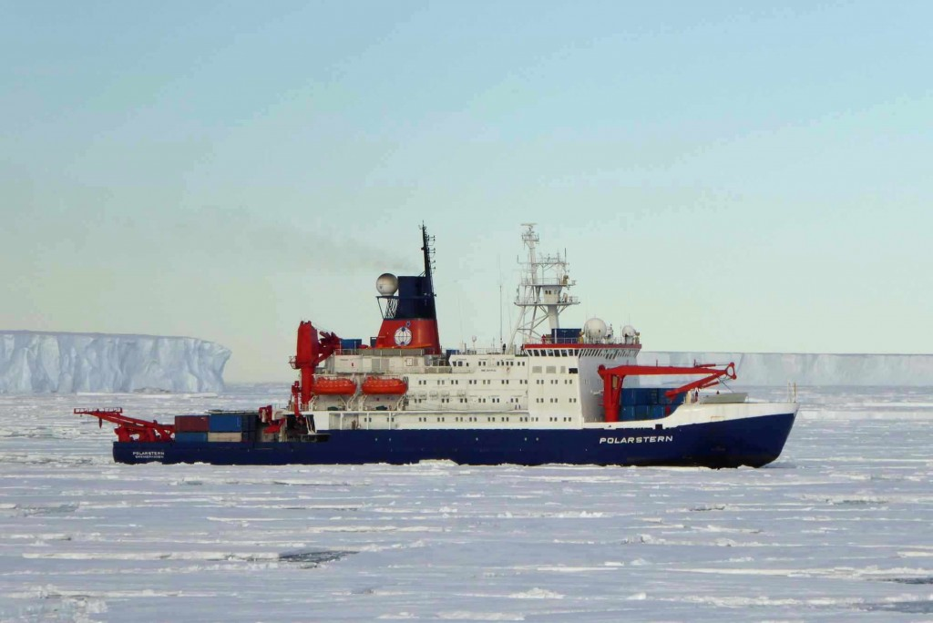 The German research ice breaker, RV POLARSTERN arriving at Atka Bay