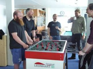 Table soccer after lunch in the lounge